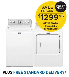 Maytag 4.9 cu.ft. Top Load Washer and 7.0 cu.ft. Dryer - White