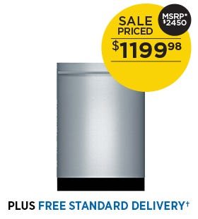 Bosch 5 Cycle Dishwasher with Hidden Controls - Stainless Steel, Bar Handle